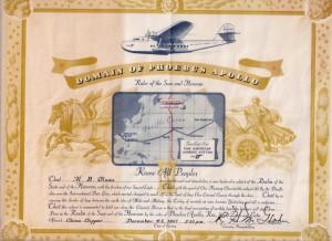 Harry Olson's PAA certificate, 12/4/41