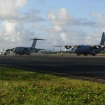 General's C-17 and a C130 at Wake