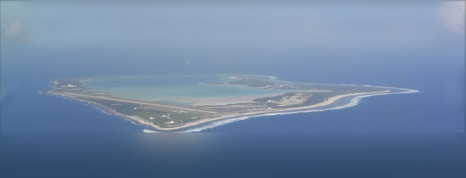Approaching Wake Island from the air.