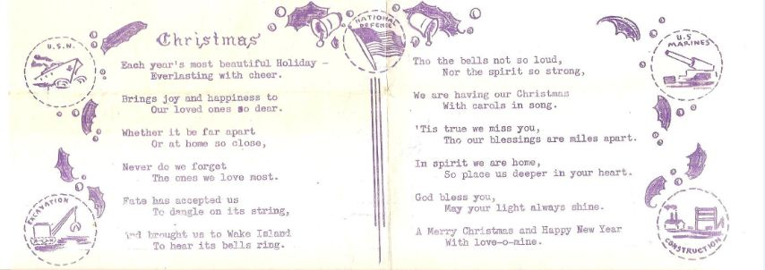 Wake 1941 Christmas poem